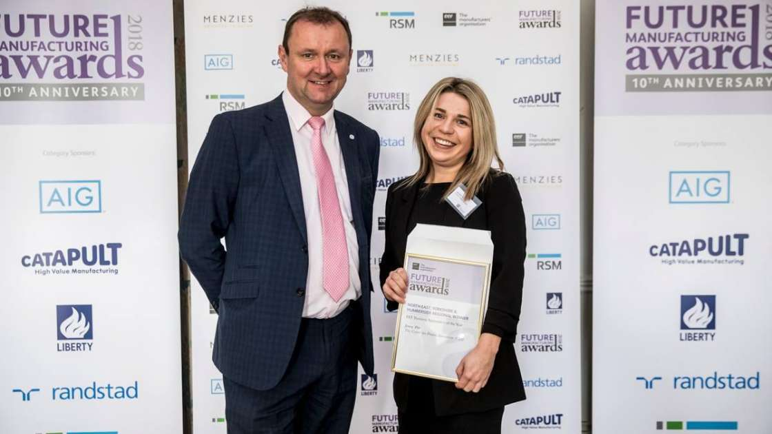 CPI apprentice Jenny Pitt receives her award from Richard Halstead, Membership Director for the North at EEF    Picture: Neil Mansfield Photography