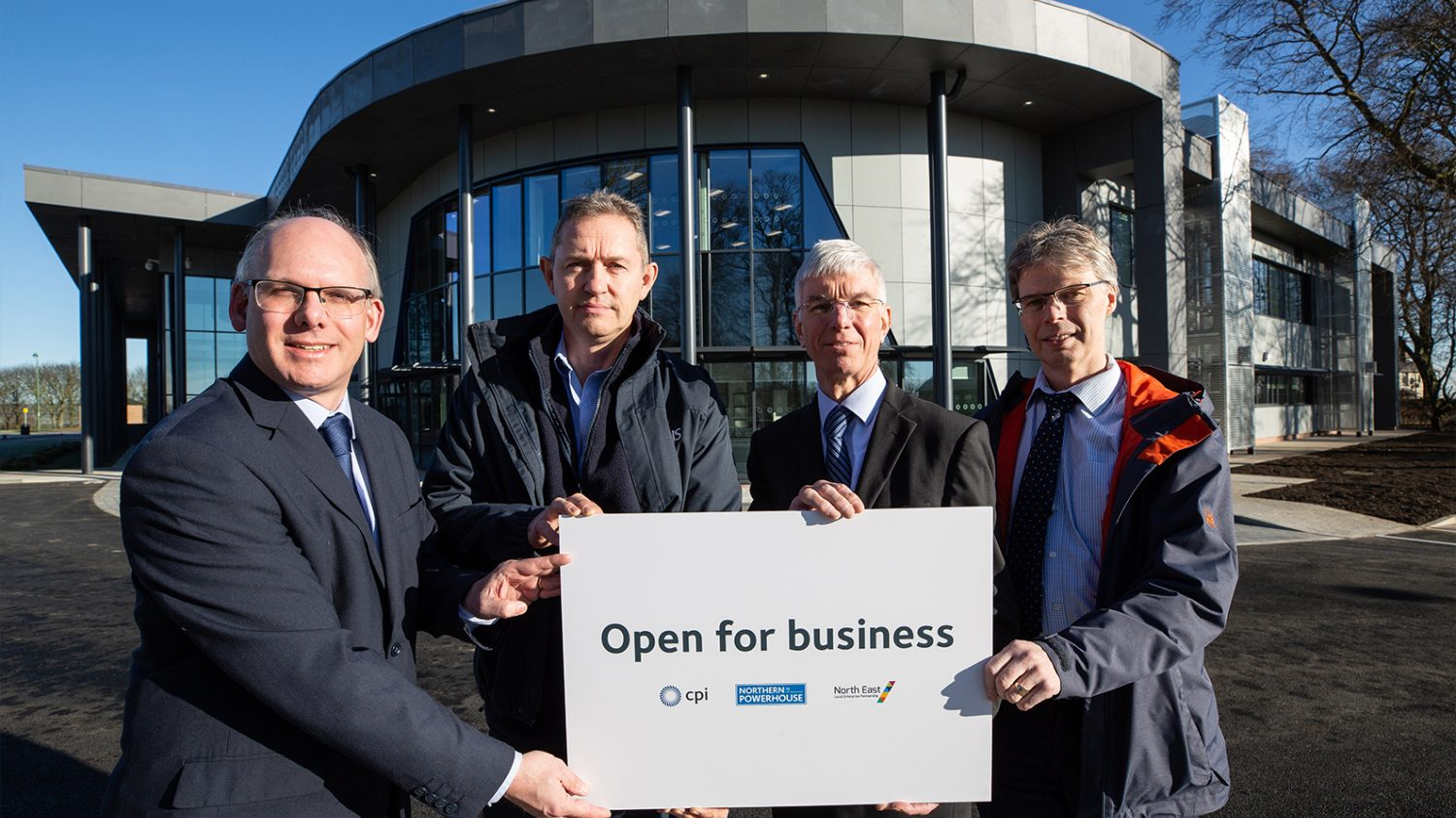 Dr Tom Harvey, Healthcare Photonics Lead at CPI; with Bob Preston, CPI Project Manager; Dr John Cocker, Business Unit Director - Printable Electronics at CPI; and Ray Browning, Programme Manager at the North East LEP