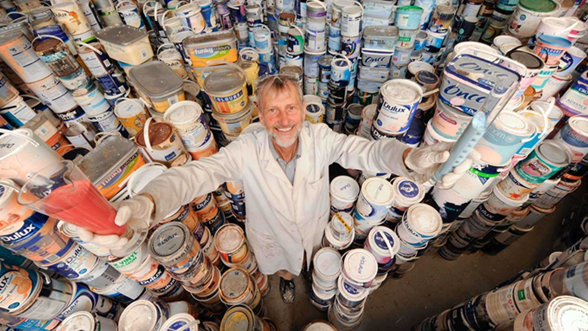 """Newlife Paints in England, which uses leftover paint to remanufacture what the company calls """"eco-paints."""""""