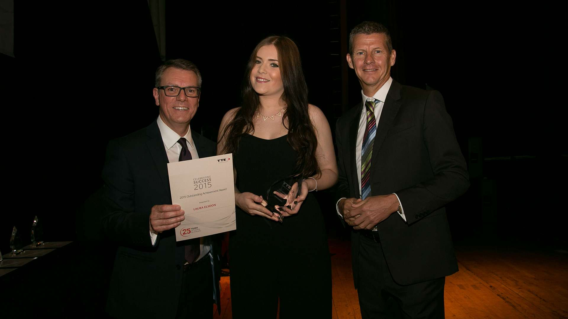 Laura Elsdon, apprentice at CPI, receives acknowledgement of her outstanding achievement at TTE Awards