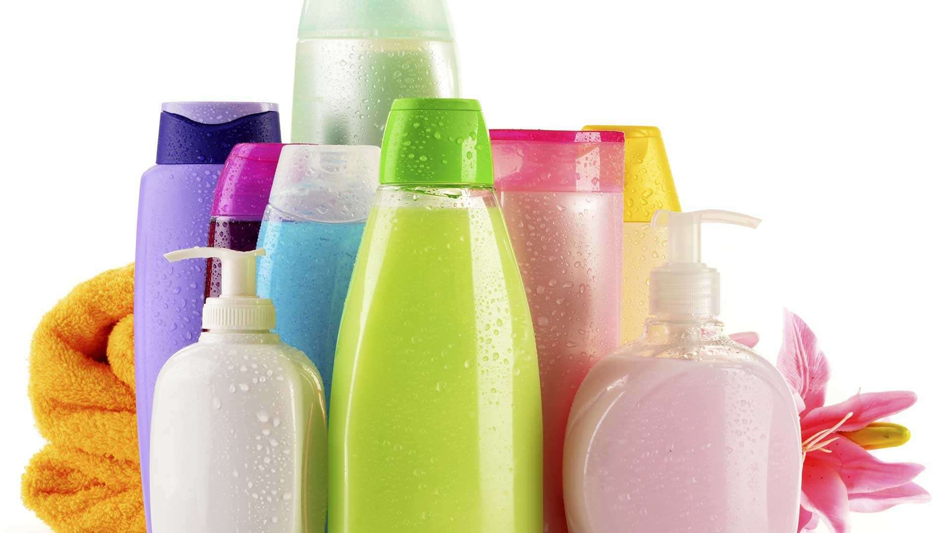A photo of plastic packaging of various consumer products