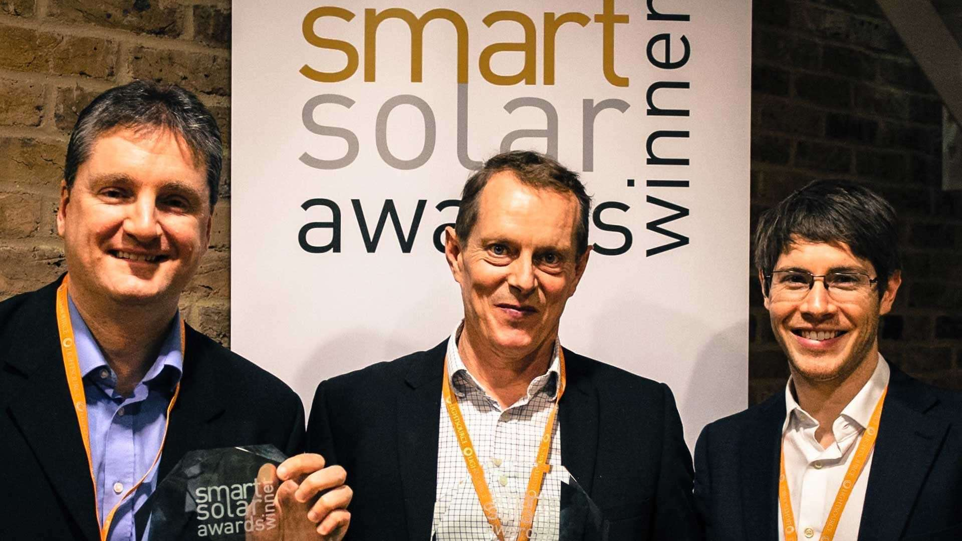 Dave Barwick collecting his award at the Smart Solar event