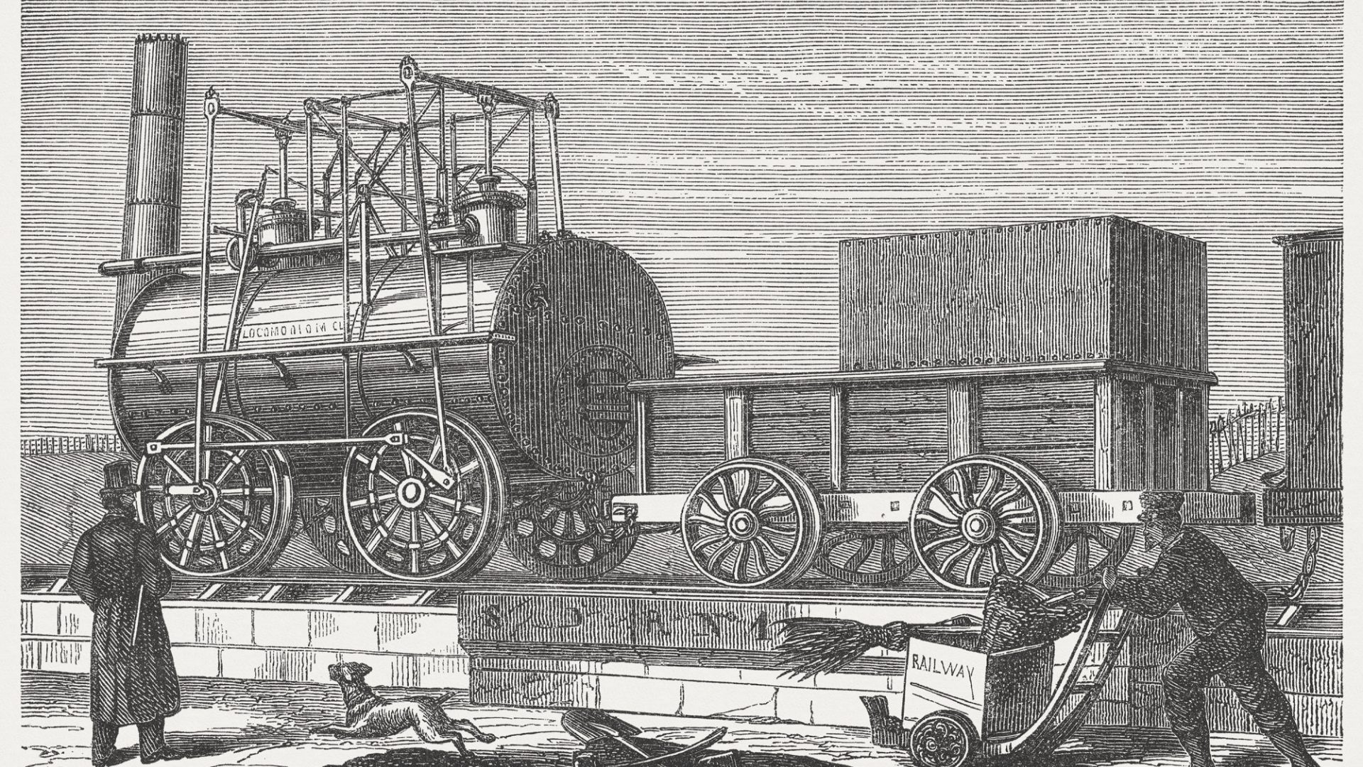 """An illustration of George Stephenson's """"Locomotion"""" – the world's first steam train and railway in Darlington, County Durham"""