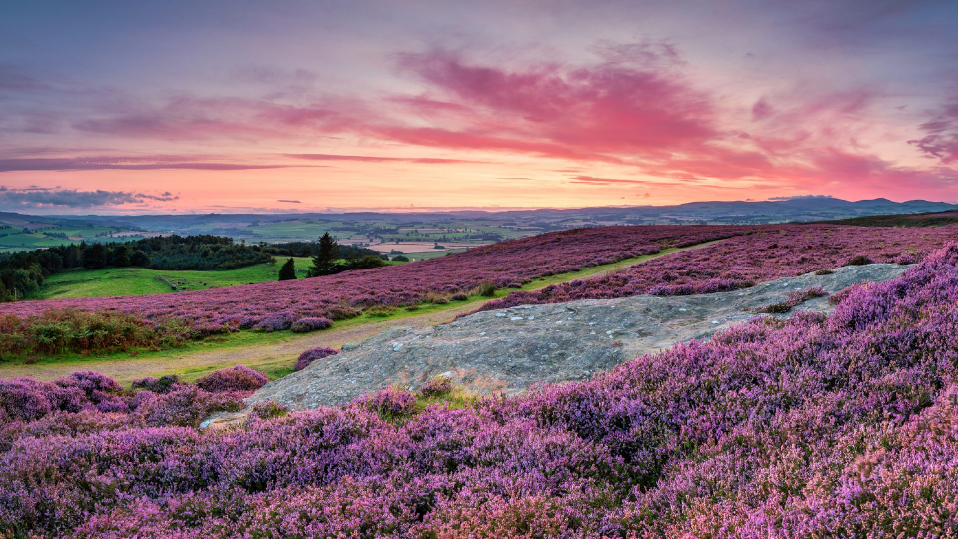 A photo of a beautiful countryside landscape at dusk
