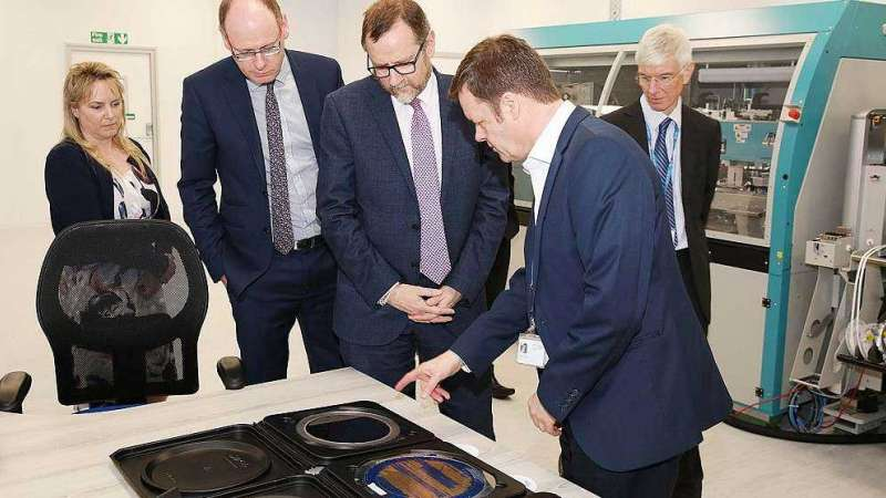 CPI's Head of Technology Mike Clausen shows guests, including MP Phil Wilson, middle, around the Newton Aycliffe facility